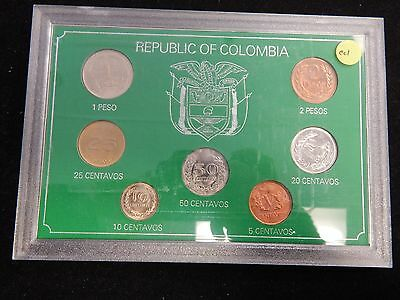 Republic of Colombia 7 pc Coin Set