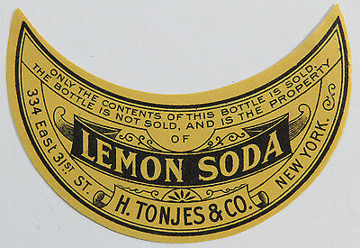 Vintage Soda Label - Lemon Soda, H. Tonjes & Co. New York - Half Moon Form