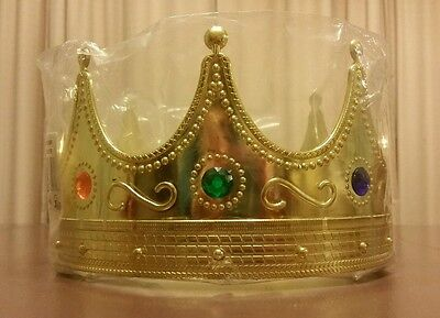 Plastic Adult Gold Crown Hat With Jewels King Queen Crown