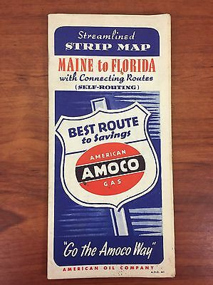 Vintage 1940's Amoco Gas & Oil Collectible East Coast Advertising Road Map Book