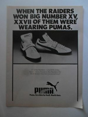 1981 Print Ad Puma Tennis Shoes Sneakers ~ Oakland Raiders