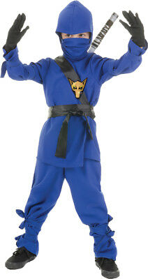 Ninja Child Boys Costume Mask & Hooded Blue Shirt Fancy Dress Up Underwraps