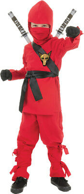 Ninja Mask Child Boys Costume Red Hooded Shirt Fancy Dress Up Underwraps