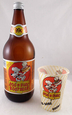 Vintage Dog n Suds Root Beer - 1 Quart Bottle and Wax Paper Cup