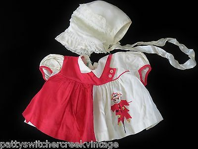 Vintage Mid-Century Baby Girl's Dress-SCARECROW Applique With Nylon Bonnet