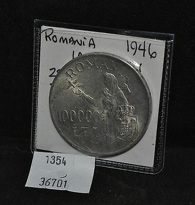 West Point Coins ~ Romania 1946 100,000 LEI Silver KM#71 UNC