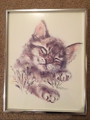 Vintage Cat Kitten Print Tiger Tabby Sleeping Sweetly by Betty Anne Framed