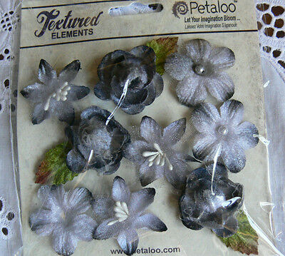 Textured Mini GREY Blossoms x 9 Fabric Flowers 25-30mm Petaloo C