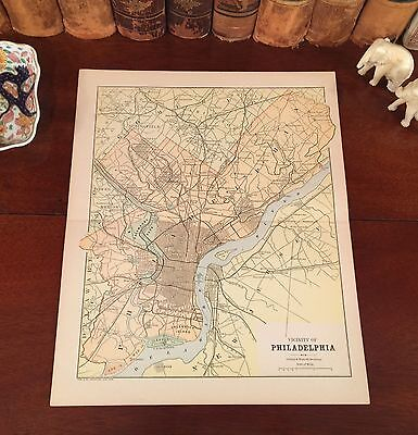 Original 1885 Antique Map PHILADELPHIA Pennsylvania PA Montgomery County