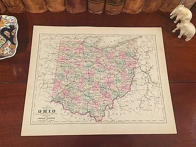 Original 1894 Antique Map OHIO Columbus Lancaster Tiffin Sidney Toledo Troy Lima