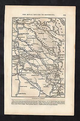 Original 1865 Antique Engraved Civil War Map APPROACHES TO RICHMOND Virginia