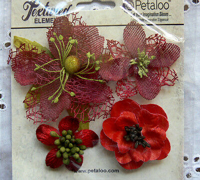 Mixed Textured Blossoms RED x 4 Fabric Mesh Flowers 35-60mm Petaloo C3