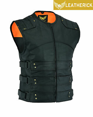Men's Gladiator Style SWAT Leather Motorcycle Club Vest with dual Gun Pockets