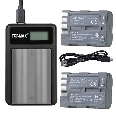 2x  Battery + USB Charger for NIKON EN-EL3e EN-EL3 D50 D70 D70S D80 D90 D100