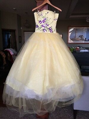 Quinceanera Beaded Dress Sweet Sixteen Princess Gown Yellow Purple Floral Gypsy