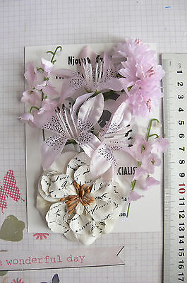 SOFT PINK & IVORY - 9 Flowers 2 Tones 4 Styles = PAPER  Flowers 20-65mm HH
