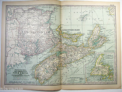 Original 1897 Map of New Brunswick, PEI & Newfoundland  by The Century Company