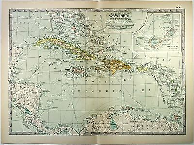 Original 1902 Map of The West Indies by The Century Company