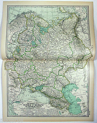 Original 1897 Map of Russia in Europe by The Century Co.