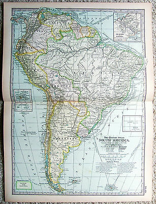 Original 1897 Map of South America by The Century Company