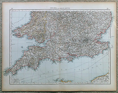 Original 1898 Map of The Southern Part of England & Wales by Velhagen & Klasing