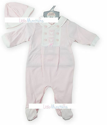 Baby Girls Pink All-In-One Babygrow Sleepsuit & Hat Outfit (Newborn - 3 Months)