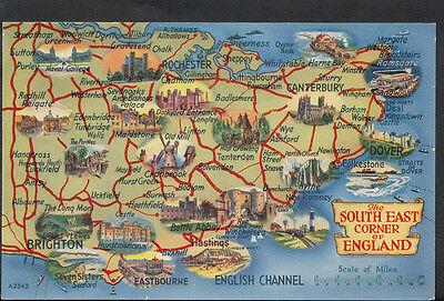 Maps Postcard - Map of The South East Corner of England  RS1846