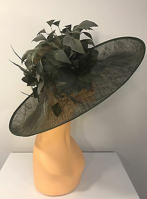 Church Kentucky Derby Carriage Tea Party Wedding Wide Brim Woman's Hat Olive