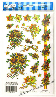 Autumn Flowers E-Z Rub-On Transfers Sheet (Decals) ~ New