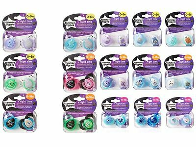 Tommee Tippee Night Time soothers age 0-6m/6-18m/18-36m girls/boys bpa free