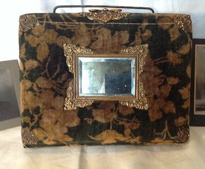 Vintage Velvet Photo Album W Mirror, Fancy Brass Trim, Carry Handle+Old Photos