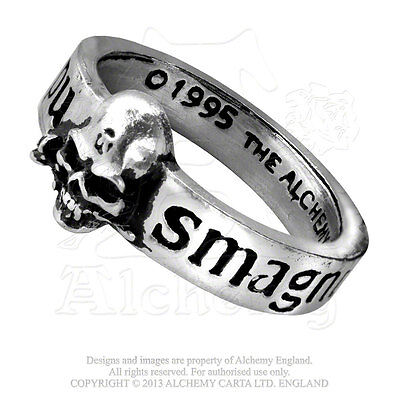 Alchemy R36 Ring To Engagement With Skull And Inscriptions Great Wish In Pewter