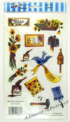 New Home E-Z Rub-On Transfers Sheet (Decal) Sunflowers Paint ~ New