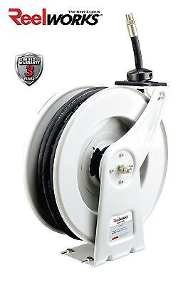 REELWORKS Spring Rewind Oil Hose Reel with  1/2 inch X 50 ft.  SAE 100R1 Hose