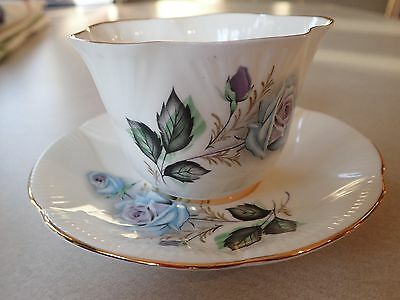 """Beautiful Royal Imperial English Bone China Teacup and Saucer """"Blue Roses"""" #720"""