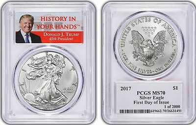 """2017 DONALD TRUMP Silver Eagle FIRST DAY ISSUE PCGS MS-70 """"SHIPS NOW"""" 1 of 2000"""