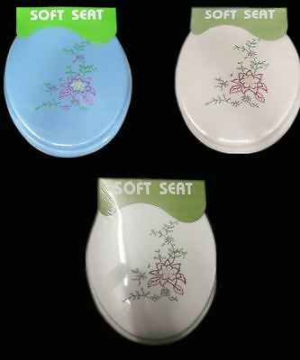 Soft Cushion Padded Toilet Seat Standard Adult Plastic Hinges Close Top Luxury