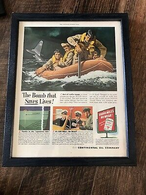1951 Continental Oil Co Conoco The Bomb That Saves Lives Framed Ad