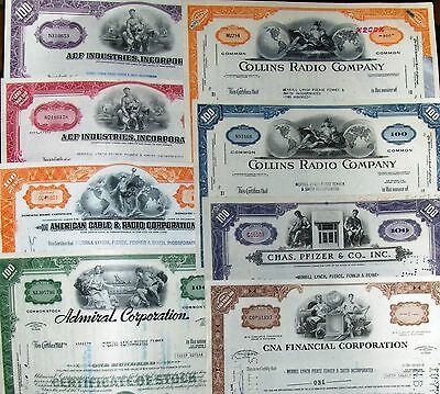 All different stock certificate. Broker Merrill Lynch, Pierce, Fenner choose one