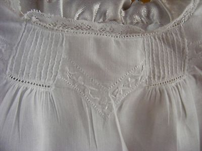 Antique Baby Day Dress  White Cotton 1890-1900 Simple Whitework Pintucks Lace