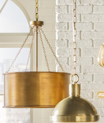 Horchow Gold & Glass Stunning French Modern Drum Chandelier Pendant New