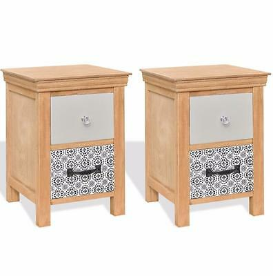Wooden Bedside Tables Set of 2 Nightstands Cabinet Side Table Storage Drawers