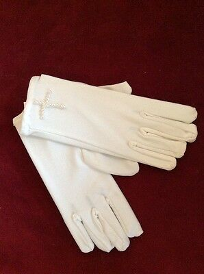 NWT Girls White Gloves First Communion Wedding Pearl Cross Free Shipping