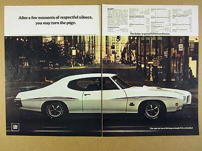 1970 Pontiac GTO The JUDGE white car photo vintage print Ad