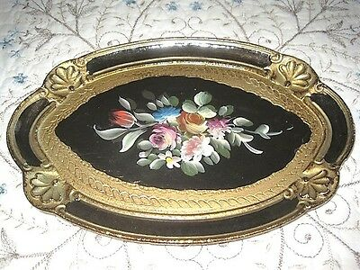 Hand Painted Black Gold Floral Italian Florentine Wood Tole Vintage Dresser Tray