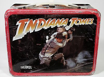 "Vintage 1984 ""INDIANA JONES"" THERMOS KING-SEELEY Metal Lunchbox (No Thermos)"