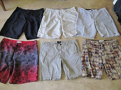 Lot, 6 mens size 38 shorts, Billabong Submersible, Hurley, Burnside