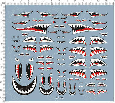 1/144 1/72 1/48 1/32 US Army Military Aircraft Shark Jaw Model Water Slide Decal
