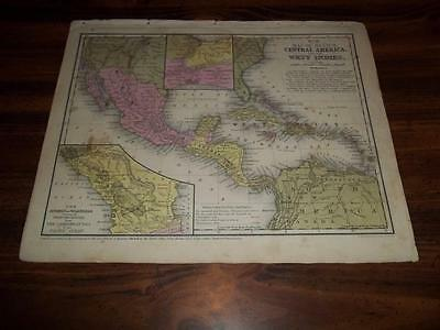 Authentic Antique  1852 Map Of Mexico, Central America, And The West Indies