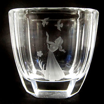 Vintage Orrefors engraved vase child and birds Sven Palmqvist 1944